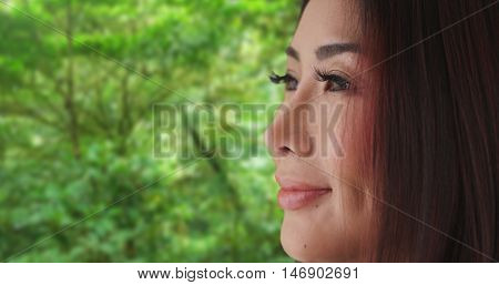 Closeup Of Japanese Woman Looking Away From Camera