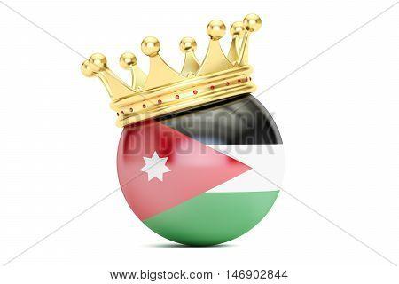 Crown with flag Hashemite Kingdom of Jordan 3D rendering