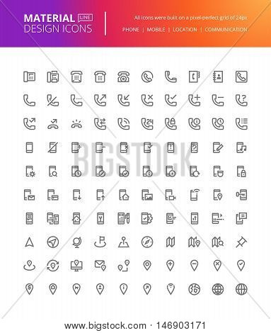 Material design icons set. Thin line pixel perfect icons for contact information, mobile communication and app, navigation. Premium quality icons for website and app design.
