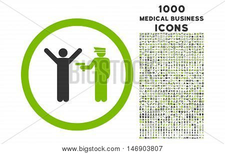 Police Arrest rounded glyph bicolor icon with 1000 medical business icons. Set style is flat pictograms, eco green and gray colors, white background.