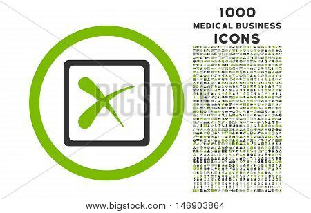 Reject rounded glyph bicolor icon with 1000 medical business icons. Set style is flat pictograms, eco green and gray colors, white background.
