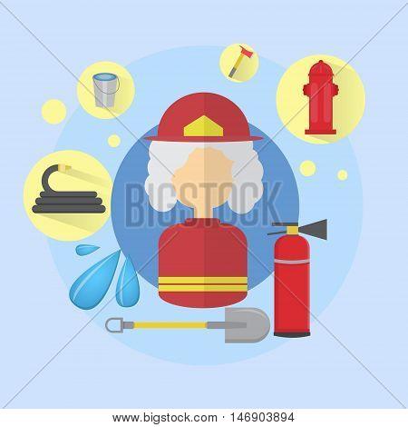 Fire Senior Woman Firefighter Worker Icon Flat Vector Illustration