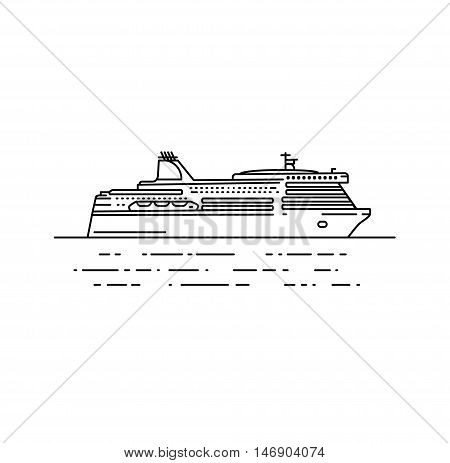 Ferry boat vector illustration in linear stile. Travel line icon, isolated on white background