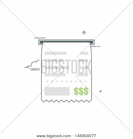 Concept check icon with a list of goods or services and the total cost with grey outline. Vector illustration in a linear style isolated on white background