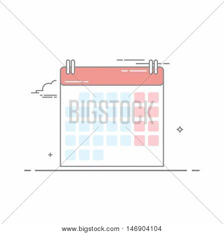 The concept of wall-calendar made in a linear style with a dark stroke. The daily days of the week and month. Schedule a weekend. Vector illustration isolated on white background