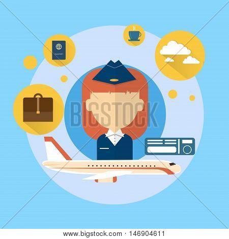 Stewardess Airport Crew Icon Flat Vector Illustration