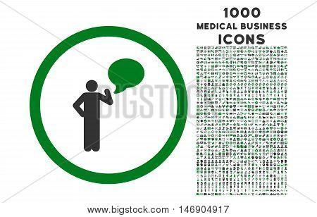 Person Idea rounded glyph bicolor icon with 1000 medical business icons. Set style is flat pictograms, green and gray colors, white background.
