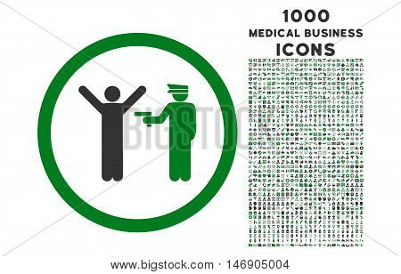 Police Arrest rounded glyph bicolor icon with 1000 medical business icons. Set style is flat pictograms, green and gray colors, white background.