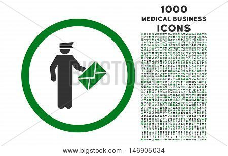 Postman rounded glyph bicolor icon with 1000 medical business icons. Set style is flat pictograms, green and gray colors, white background.