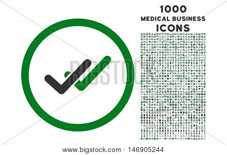 Validation rounded glyph bicolor icon with 1000 medical business icons. Set style is flat pictograms, green and gray colors, white background.