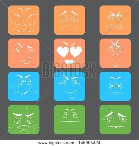 Set of Square Emoticons with White Contour. Set of Smilies. Emoticons Hand Drawn Style. Emoticons Doodle.