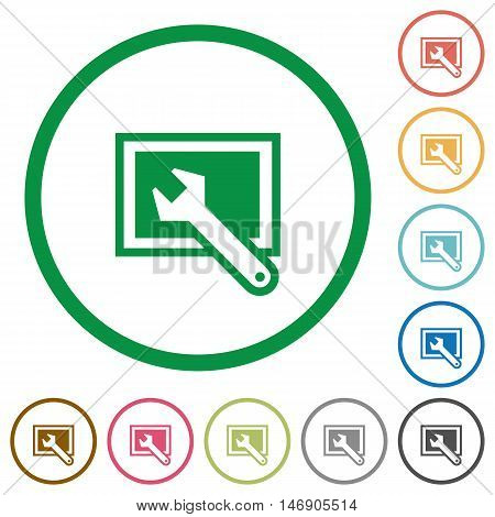 Set of screen settings color round outlined flat icons on white background