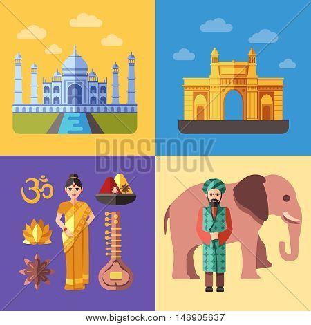 India flat traveling concepts vector set. Indian tourism illustration