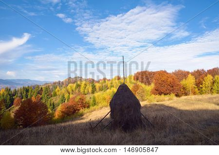 Autumn landscape with a haystack on the meadow. Beautiful deciduous forest on the hills. Sunny weather in the morning. Carpathians, Ukraine, Europe