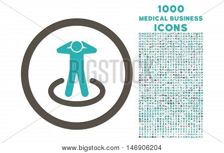 Prisoner rounded glyph bicolor icon with 1000 medical business icons. Set style is flat pictograms, grey and cyan colors, white background.