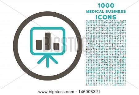Slideshow Screen rounded glyph bicolor icon with 1000 medical business icons. Set style is flat pictograms, grey and cyan colors, white background.