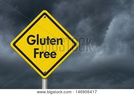Gluten Free yellow warning highway road sign Yellow warning highway sign with words Gluten Free with stormy sky background, 3D Illustration