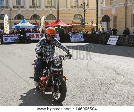 St. Petersburg, Russia - 12 August, Biker on sportbike,12 August, 2016. The annual International Festival of Motor Harley Davidson in St. Petersburg Ostrovsky Square.