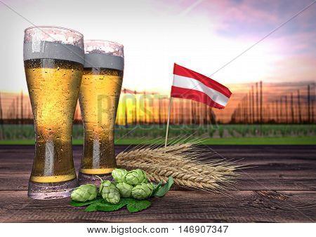 concept of beer consumption in Austria - 3D render