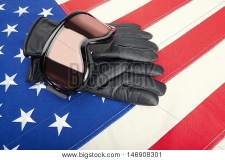 Goggles And Gloves Over Us Flag - Studio Shot