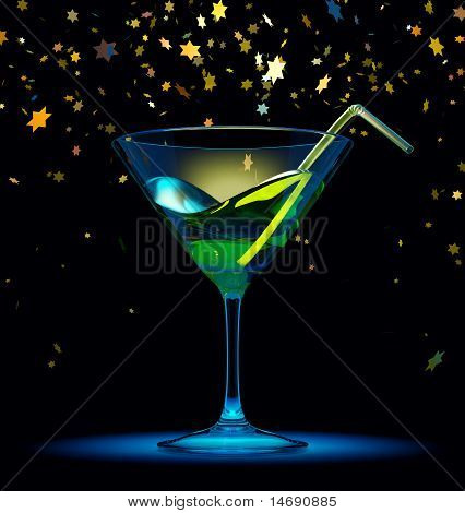 Cocktailglass over black