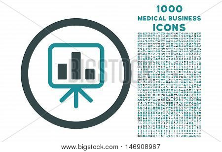 Slideshow Screen rounded glyph bicolor icon with 1000 medical business icons. Set style is flat pictograms, soft blue colors, white background.