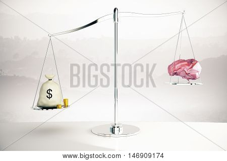 Cash sack on silver scales outweighing abstract polygonal brain on misty background. 3D Rendering