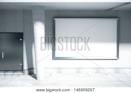 Concrete exterior with door column huge blank billboard and daylight. Mock up 3D Rendering
