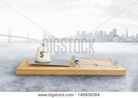 Mousetrap with money sack on city background. Risk concept. 3D Rendering