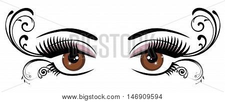 vector illustration of eye with long lashes and swirls
