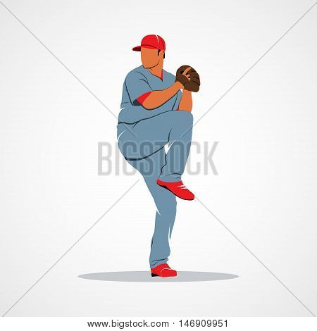 Baseball player Pitcher in the cast. Branding Identity Corporate vector logo design template Isolated on a white background. Vector illustration.