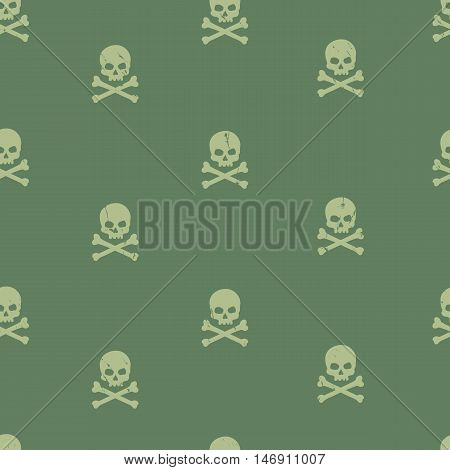 Vector Seamless Grunge Pattern With Skulls And Bones