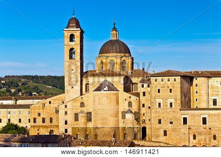 Urbino is a walled city in the Marche region of Italy, medieval town on the hill