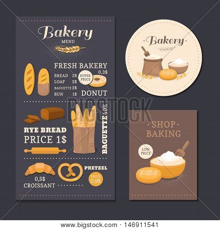 Menu template cafe bakery. Bakery branding identity with a menu, card and label for packaging. Collection of vector elements: bread, flour, donut, baguette, croissant. Illustration of baking.
