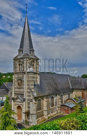 Fontaine le Bourg France - june 23 2016 : the Notre Dame church