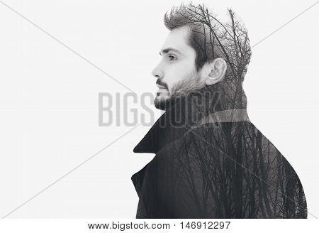 Double Exposure Fashion Elegant Bearded Free Man In Profile Pensive Looks Into The Distance, Isolate