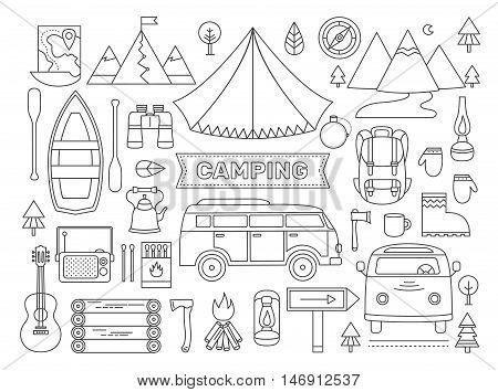 Line icons set of camping. Adventure outdoors collection elements: tent, minibus, boat, mountains, backpack, binoculars, compass, guitar, map and other. Activity and travel vector clipart.