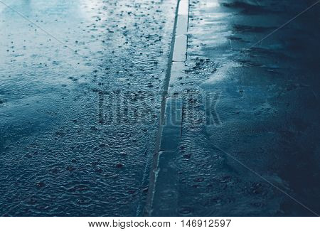 Rain, Autumn Day, Weather Concept - Puddle And Splashing Water In Rainy Evening