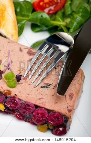 detail of a liver pate on a plate