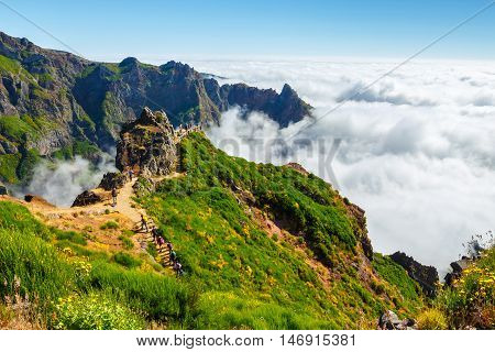 Madeira, Portugal 02 July, 2016: Unidentified People Hiking On Pico Do Areeiro Summit In Central Mad