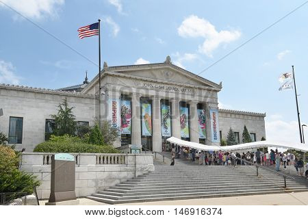 CHICAGO, ILLINOIS - SEPTEMBER 5, 2016: Shedd Aquarium. Patrons wait to enter the largest indoor aquarium in the world on Labor Day 2016.