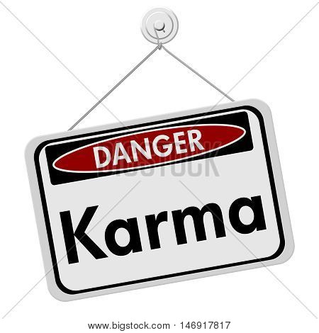 Karma Danger Sign A white danger hanging sign with text Karma isolated over white, 3D Illustration