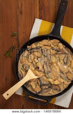 Chicken Stroganoff a variation on Beef Stroganoff. Selective focus.