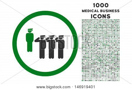 Army Squad rounded vector bicolor icon with 1000 medical business icons. Set style is flat pictograms, green and gray colors, white background.