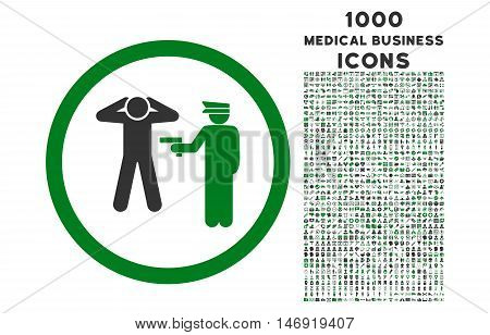 Arrest rounded vector bicolor icon with 1000 medical business icons. Set style is flat pictograms, green and gray colors, white background.
