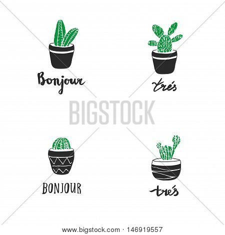Set Of Hand Drawn Cacti With French Quotes