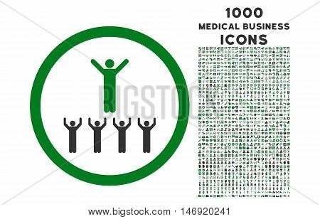 Religion Adepts rounded vector bicolor icon with 1000 medical business icons. Set style is flat pictograms, green and gray colors, white background.