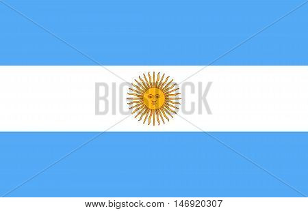 Flag of Argentina in correct size proportions and colors. Accurate official standard dimensions. Argentine Republic national flag. Argentinian patriotic symbol banner element background. Vector