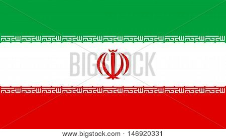 Flag of Iran in correct size proportions and colors. Accurate official standard dimensions. Iranian national flag. Islamic Republic of Iran patriotic symbol banner background. Vector illustration