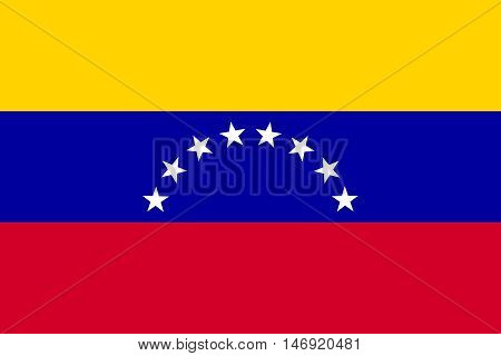 Flag of Venezuela in correct size proportion and colors. Accurate official standard dimensions. Venezuelan national flag. Bolivarian Republic of Venezuela patriotic symbol banner background. Vector